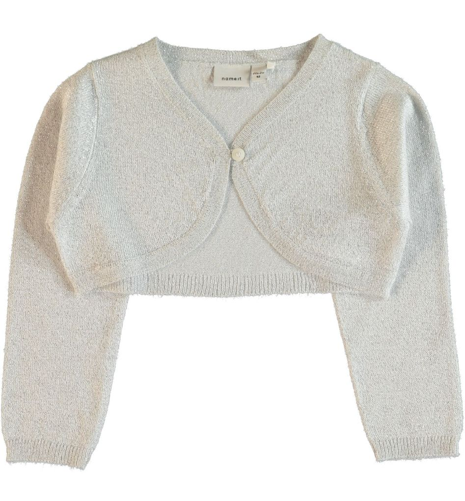 Name it Mini Mädchen Bolerojacke Strickjacke Nitijulle snow white Lurex