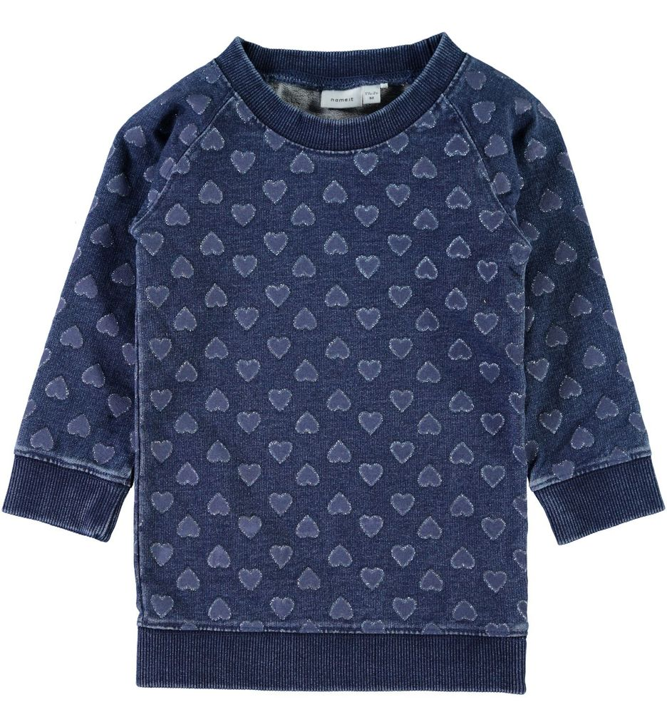 Name it mini Mädchen Sweattunika mit Herzen Nitfibana dark blue denim