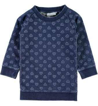 Name it mini Mädchen Sweattunika mit Herzen Nitfibana dark blue denim 001