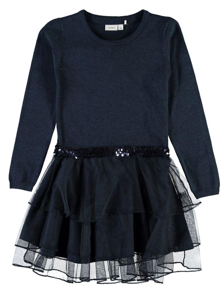 Name it Mädchen Feinstrick-Kleid mit Tüllrock Nitpalukka in dunkelblau