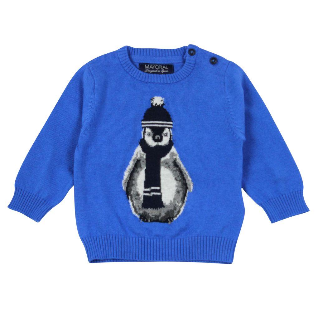 Mayoral Baby Pullover für Jungen Pinguin in blau