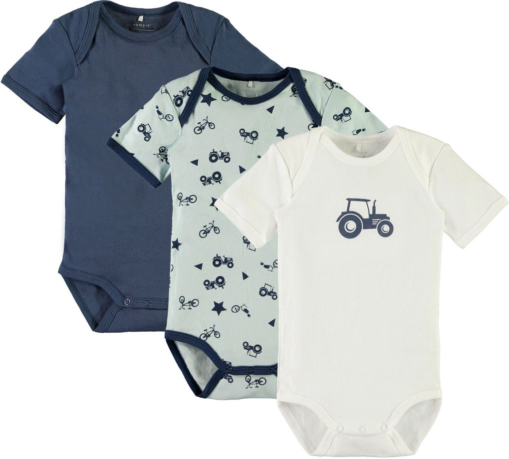 Name it Baby Kurzarmbody Traktor 3er Set ensign blue – Bild 1