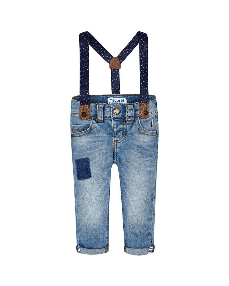 Mayoral Baby Jeans mit Hosenträger in hellblau