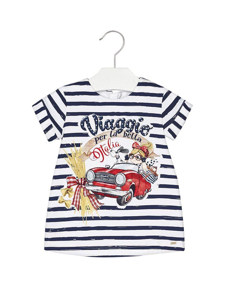 Mayoral Baby Jersey-Kleid kurzarm mit Auto marino gestreift