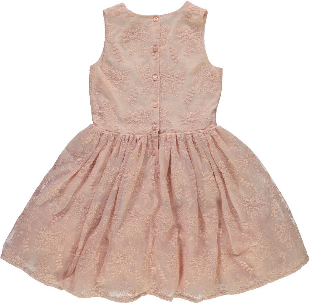 Name it Mädchen Fest-Kleid mit Blumenstickerei in rosa NKFilencia – Bild 2