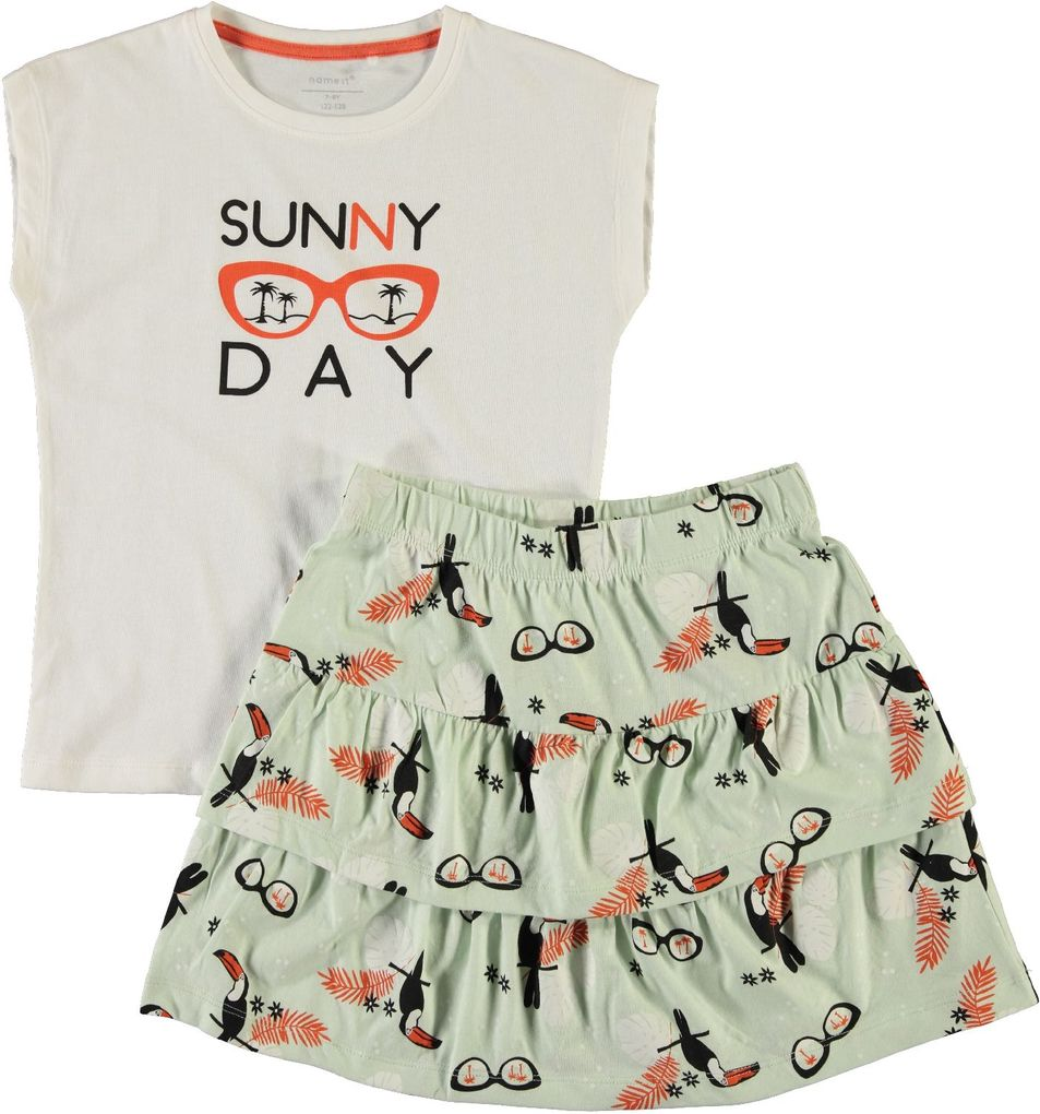 Name it Kids Mädchen Sommer-Set T-Shirt & Rock NKFVEGAS