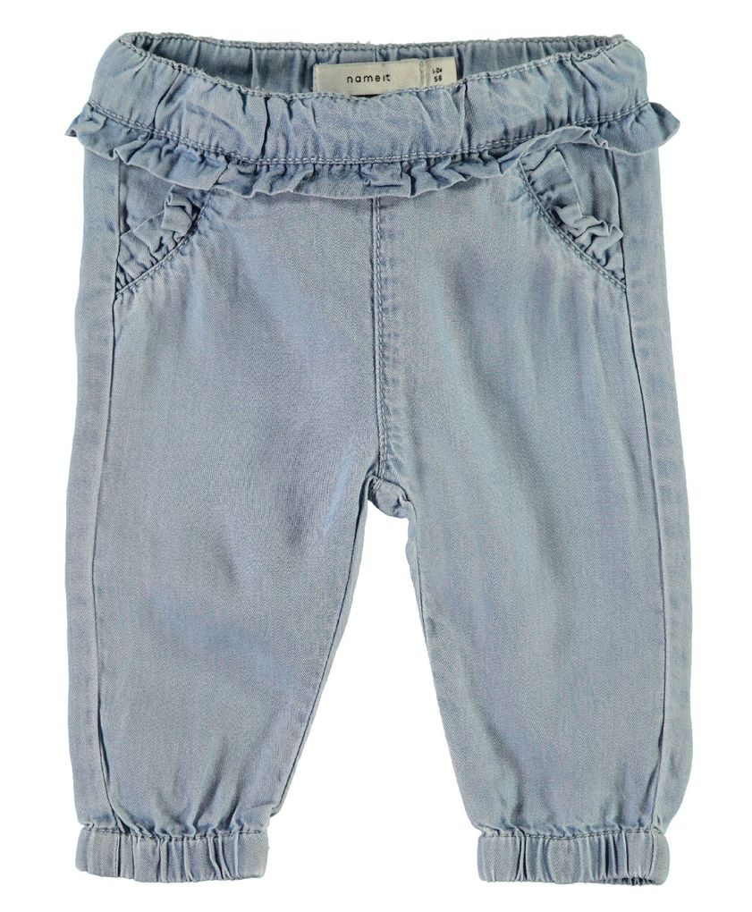 Name it Baby Sommer-Jeanshose mit Rüschen NBFRie light blue denim