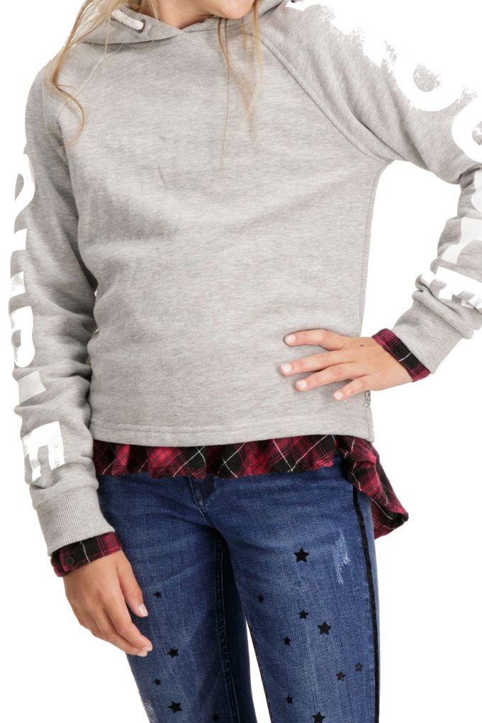 Garcia Mädchen Kapuzen-Sweatshirt Hoodie angeraut in grey melee – Bild 2