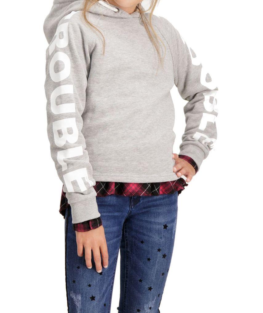 Garcia Mädchen Kapuzen-Sweatshirt Hoodie angeraut in grey melee – Bild 4