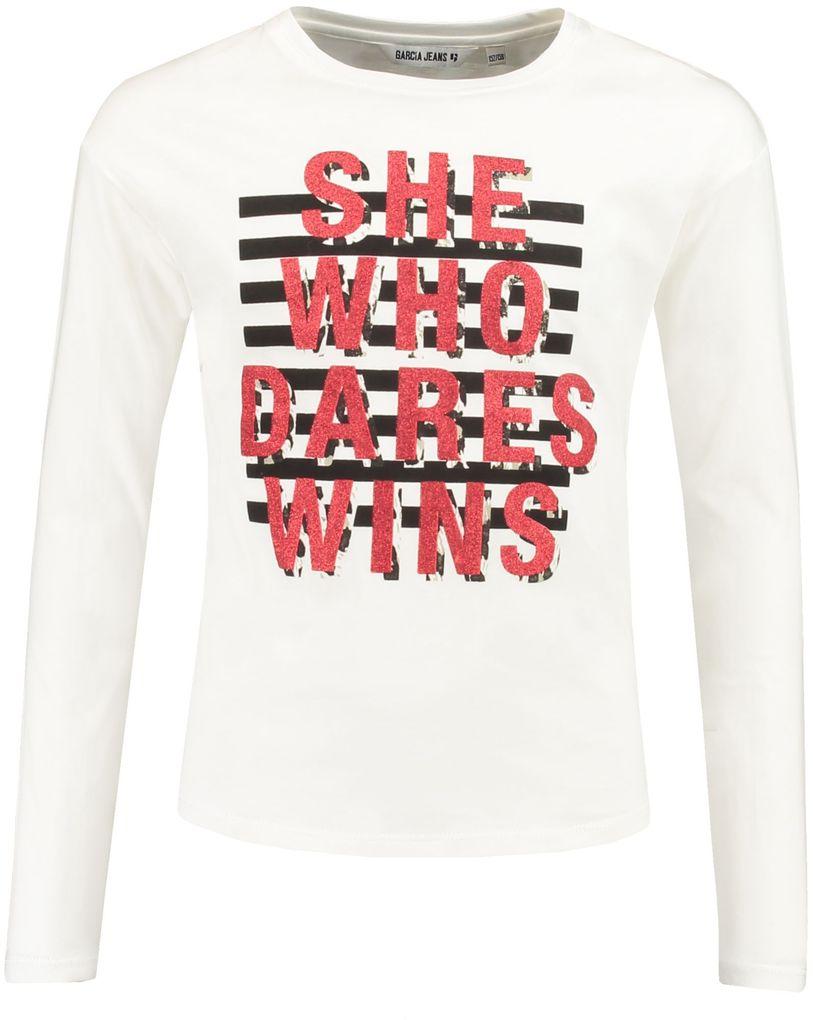 Garcia Mädchen Langarmshirt mit Glitzerschrift in off white – Bild 1